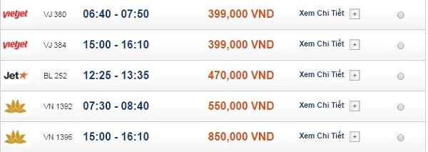 Bảng giá vé máy bay đi Quy Nhơn