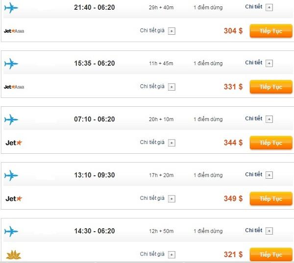 Bảng giá vé máy bay đi Úc